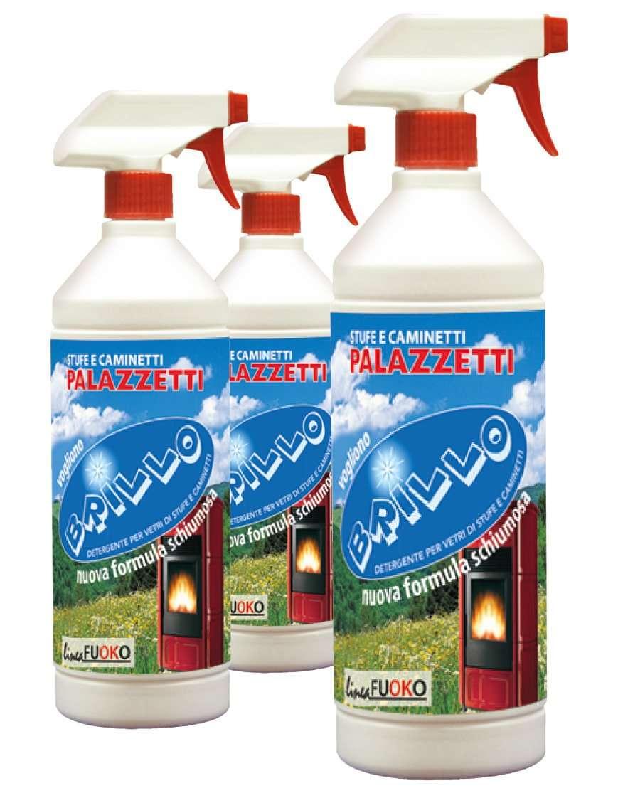 Nettavetri detergente schiumoso per la pulizia di vetri di stufe e caminetti